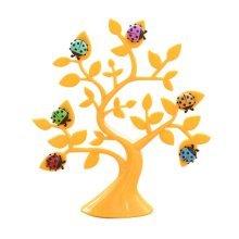 Set of 2 Creative Office Desktop Decoration Memo Holders Tree Shape Yellow