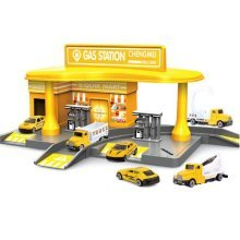 Petrol Station with 2 Alloy Toy Cars Interesting Children's Gifts-Yellow