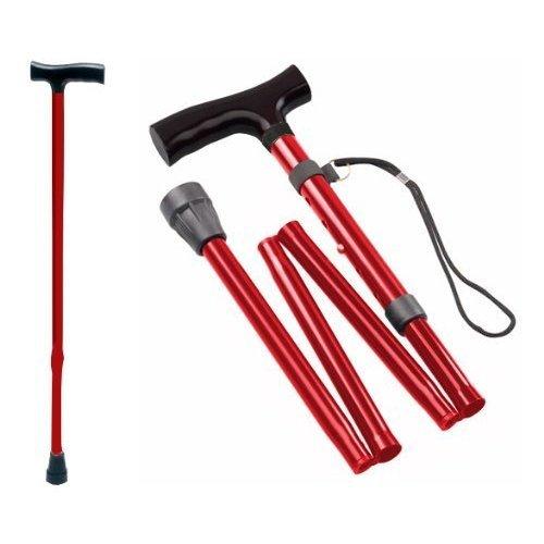 Tiga-Med Walking Stick, Aluminium, Foldable, Red
