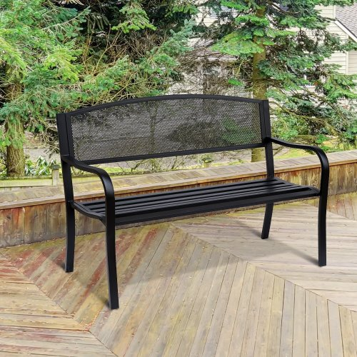 Outsunny Steel Garden Bench Furniture Patio 2 Person Chair Seat 120cm - Black
