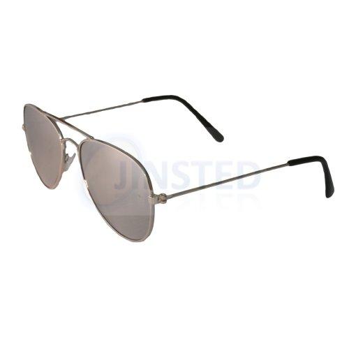 Childrens Silver Mirrored Reflective Aviator Sunglasses KA001