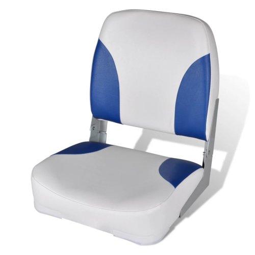 vidaXL Boat Seat Foldable Backrest with Blue-white Pillow 41x36x48cm Part