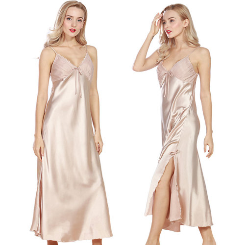 Ulily Women Long Satin Nightgown Lingerie Sleepwear