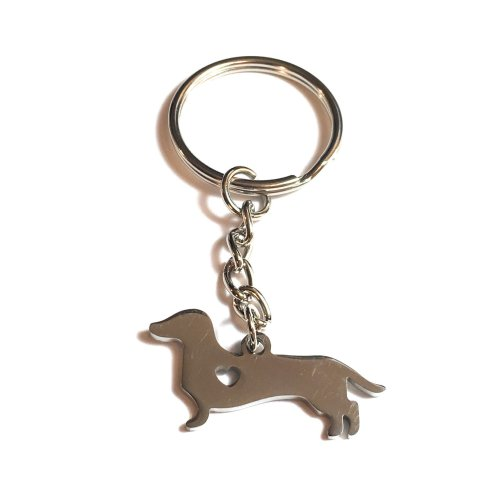 FizzyButton Gifts Dachshund Stainless Steel Sausage Dog Keyring/Bag Charm in Gift Box