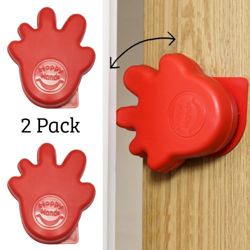 Happy Hands Anti Slam Child Door Safety Finger Trap Stoppers - 2 Pack (Red)