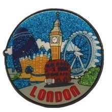 Round London Rubber Glitter Fridge Magnet Souvenir Gift Big Ben Red Bus Collage