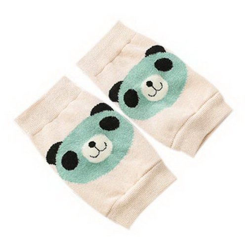 Cute Panda Print Children's Crawling Kneepads Breathable Cotton Elbow Pads Beige