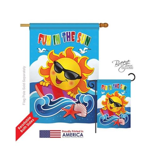 Breeze Decor 06069 Summer Fun in the Sun 2-Sided Vertical Impression House Flag - 28 x 40 in.