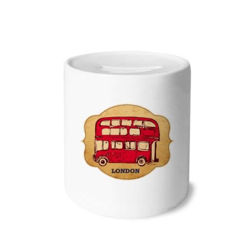 UK London Umbrella Stamp Red Bus Money Box Saving Banks Ceramic Coin Case Kids Adults