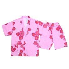 Cotton Short Pajamas Suit Pink Sweet Kimono Style Pajamas Loose Home Wear