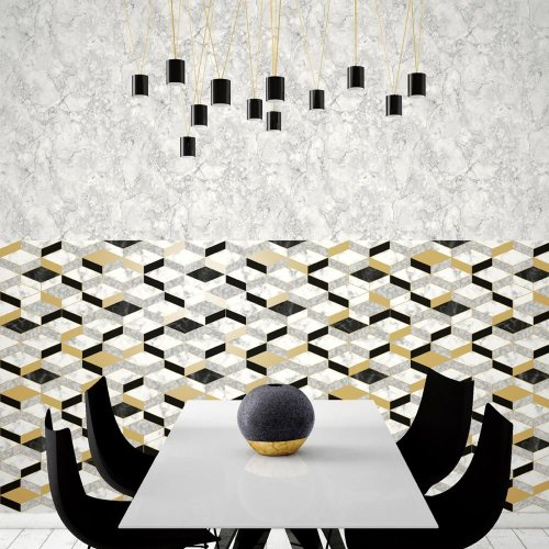 Muriva Runa Marble Tile Pattern Wallpaper Faux Effect Geometric Metallic Vinyl L63802