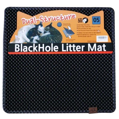 """BlackHole Litter Mat Blackhole Cat Litter Mat - Medium Square 23"""" X 21"""" Dark Gray"""