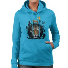 Circle Of Wildlife Jungle With Tiger Women's Hooded Sweatshirt