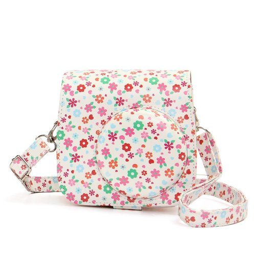 Flower PU Leather Camera Case Bag For Fujifilm Polaroid Instax Mini8