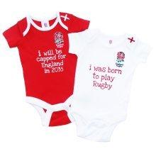 Brecrest Fashion Baby-boys England Rfu Bodysuit, White, 12-18 Months - 2 Pack -  england rfu 2 pack baby bodysuit rugby official 1218 rw vest product