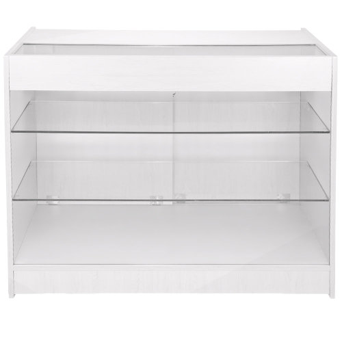 Retail Glass Shelf Display Lockable Counter White K1200
