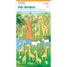 Giraffes Fabric Felt Sticker Pack - Fiesta Crafts Giraffe Stickers 6 -  fiesta crafts giraffe felt stickers pack 6