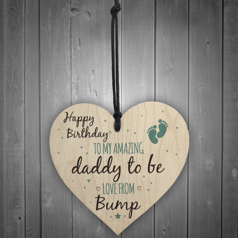 RED OCEAN Daddy To Be From Bump Happy Birthday Wooden Heart Dad Father Humour Funny Card