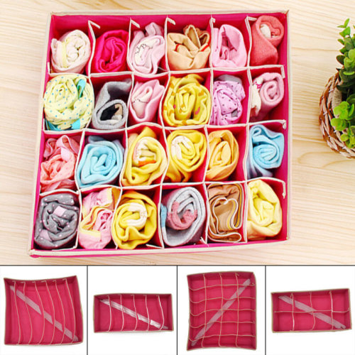 4pcs/Set Bra Underwear Sock Ties Drawer Divider Closet Organizer Storage Box