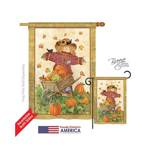 Breeze Decor 13043 Harvest & Autumn Scarecrow 2-Sided Vertical Impression House Flag - 28 x 40 in.