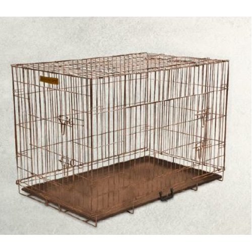 Hound Antique Copper Finish Fold Flat Metal Crate With Metal Tray Small