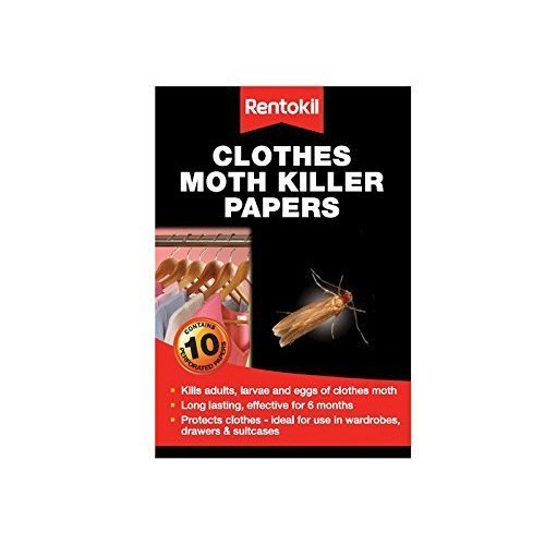 Rentokil Pest Control - Mothkiller Strips - Moth Clothes Papers 10 Pack Killer -  moth rentokil clothes papers 10 pack killer strips fa115