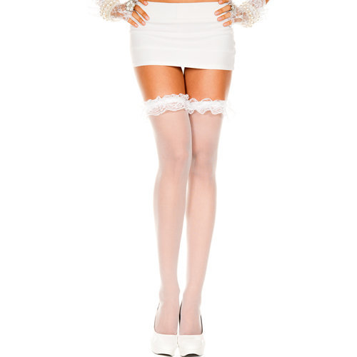 Thigh high Stockings With Ruffles - White  Ladies Lingerie Stockings - Music Legs