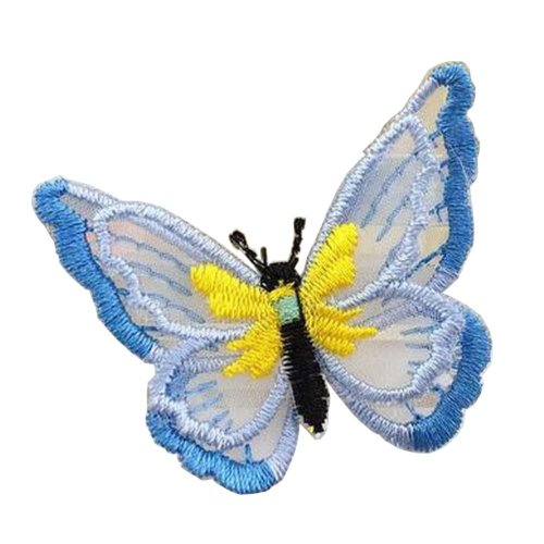 6 Pcs Exquisite Applique Patches Yarn Applique Embroidered Patches, Butterfly #4