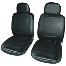 Pair Of Black Leather Look Front Seat Cover - Covers Swsc34 -  black leather look front pair seat covers swsc34