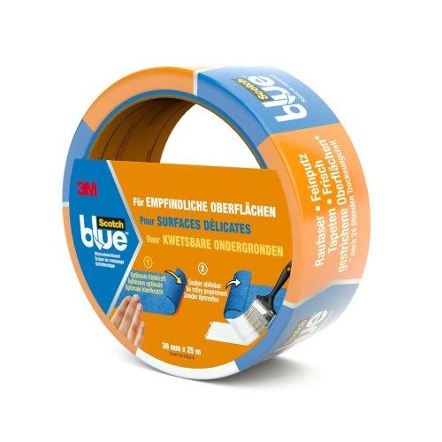 Scotch Blue 80EU3625 Painter's Masking Tape for Sensitive Surfaces 36 mm x 25 m Blue