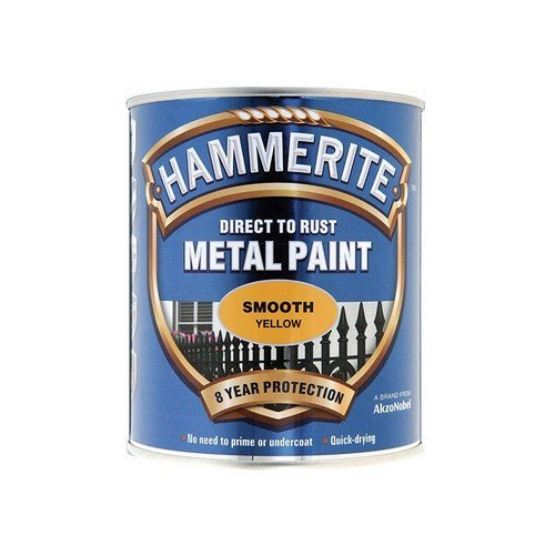 Hammerite SFY750 Direct to Rust Smooth Finish Metal Paint Yellow 750ml