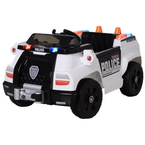 HOMCOM Ride On Police Car Truck Forward Reverse Lights Horn Music Player White