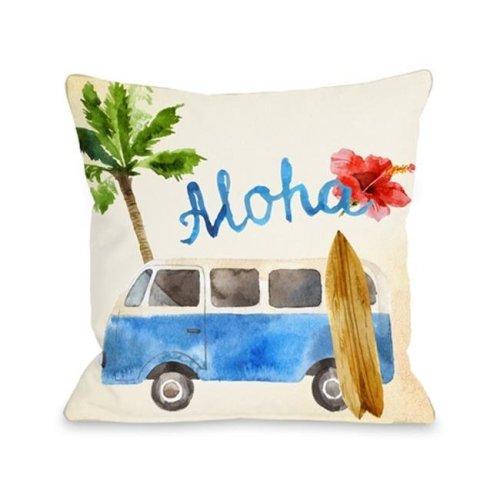 One Bella Casa 74965PL16 Aloha Surf Van Pillow, Multi Color - 16 x 16 in.