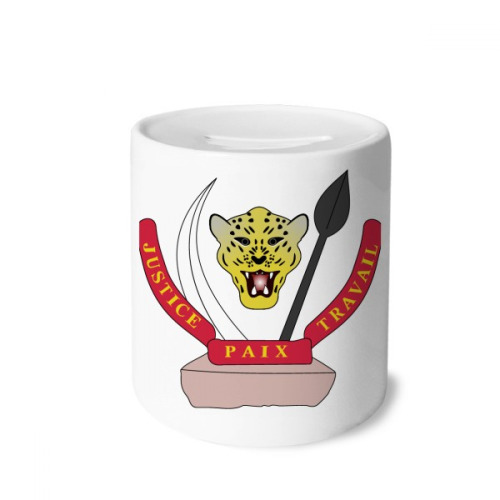 Congo National Emblem Country Money Box Saving Banks Ceramic Coin Case Kids Adults
