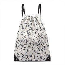 KONO Women Drawstring Backpack Girls Flower Canvas PE Gym Swim School Bag