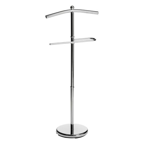 Chrome Floor Standing Clothes Valet - Silver