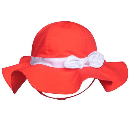 Children's Outdoor Sun Beach Hat With Bow For Baby Girls(Orange)