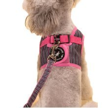 Vest Leashes - Dog Harness Leash--?L Size: Bust 46cm?Pink Bars 1