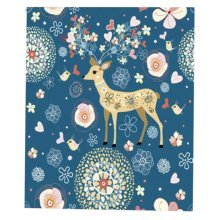 2PCS Deer Blue Stylish Window Curtains Total 130x120cm