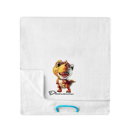 Lovely Design Soft Absorbent Cotton Towels for Kids 2 Pcs - Dinosaur