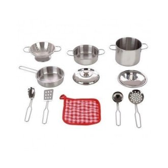 Stainless Steel Cookware 11 Pc Playset Pots Pans Colander Strainer Utensils Oven Mitt by Play Right