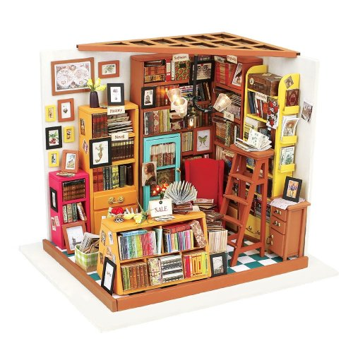 Robotime DIY Library Wooden Dollhouse Kits- Books Store Woodcraft Construction Kit Handmade Library Dolls House– Miniature Furniture Accessories...