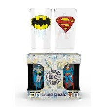 Dc Comics Batman and Superman Large Glasses Twin Pack