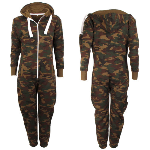 Kids' Hooded Camouflage Pyjama Jumpsuit