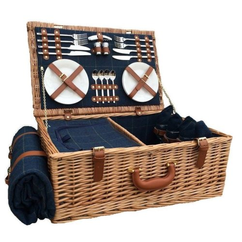 4 Person Blue Tweed Fitted Picnic Basket