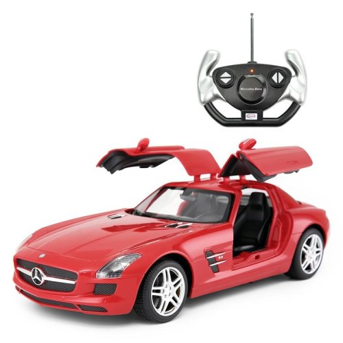 Licensed 1:14 Mercedes-Benz SLS AMG Remote Control Car Red Opening Doors Working Headlights and Tailgates Ages 6 Years+- RideonToys4u