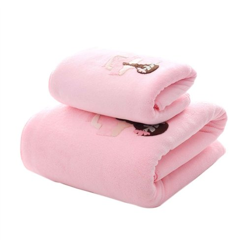 Soft Fiber Bath Towel Set Highly Absorbent for Bathroom Beach Sport, Pink, Set of 2