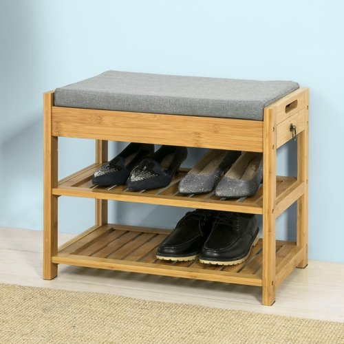 SoBuy® FSR49-N, Bamboo Shoe Rack Shoe Bench with Lift Up Bench Top