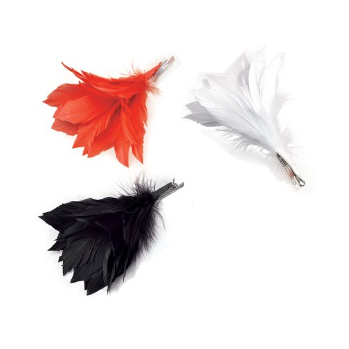 Red Ladies Feather Hair Clip -  feather clip fancy dress flower red all colours accessory white black