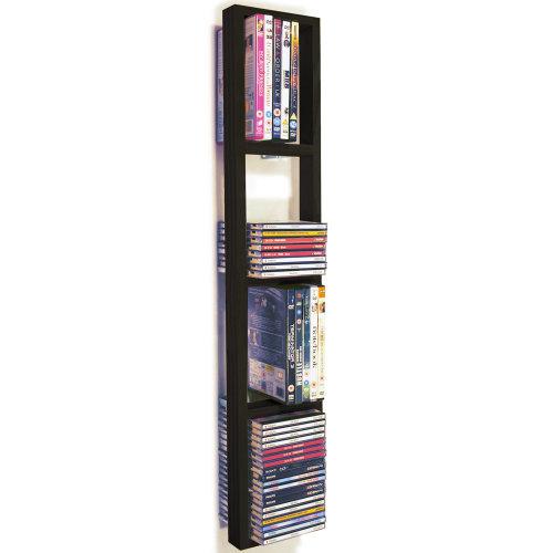 IRIS - Wall Mounted 76 CD / 32 DVD / Blu ray Storage Frame Shelf - Black/Brown